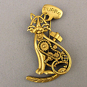 Vintage AJC Mechanical CAT Pin Brooch w/ Moving Tail