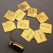 Vintage Ten 10 Commandments Fob Chain - Clip-On Pendant Charms