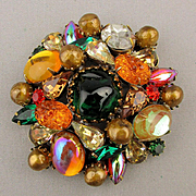 Big Vintage KRAMER Rhinestone Jewel Pin Brooch