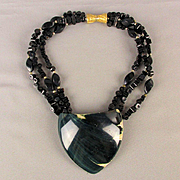 Big Bold Black Coral Bead Necklace w/ Painted Shell Center 3-Strands