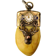Victorian ELKS Lodge BPOE Tooth Pendant Fob Gilt Charm