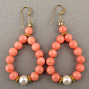 Vintage Angel Skin Coral Hoop Earrings - 14K Gold-Filled