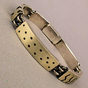 Hunk of Sterling Silver Handmade Bracelet Mens Modernist Links
