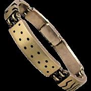 Hunk of Sterling Silver Handmade Bracelet Mens Modernist Links
