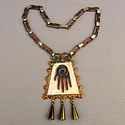 Vintage MAYA Mexico Copper Brass Multi Metal Necklace Hamsa Amulet