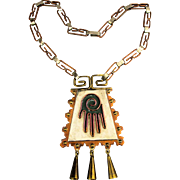 Vintage MAYA Mexico Copper Brass Multi Metal Necklace Hand Hamsa Amulet - Book Piece