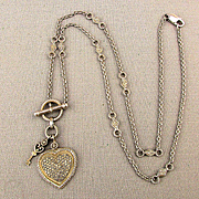 Gorgeous Sterling Silver Diamond Heart - Key Necklace Pendant