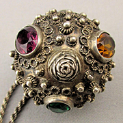 Sterling Silver Jeweled Ball Pill Box Pendant Necklace Prayer Box