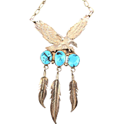 Southwest Sterling Silver Turquoise Soaring Eagle Necklace Feathers