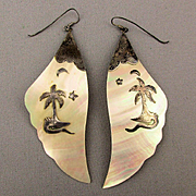 Long Sterling Silver Shell Earrings w/ Palm Tree - Alligator - Moon