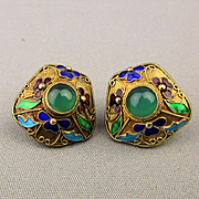 Vintage Chinese Enamel Jade Gilt on Sterling Silver Earrings