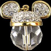 Vintage Swarovski Mickey Mouse Head Charm Pendant Crystal Disney