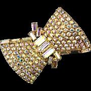 Sparkly Vintage Aurora Borealis Rhinestone BOW Pin Brooch