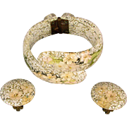 1950s Flower Confetti Lucite Clamper Bracelet w/ Earrings