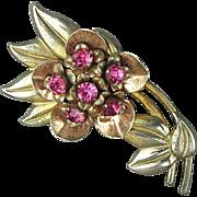 Vintage 1930s Sterling Silver Rhinestone Flower Pin Brooch Vermeil