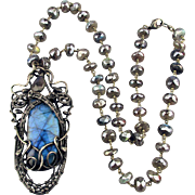 Vintage Labradorite Sterling Silver Wrapped Necklace Glowing Bead Chain