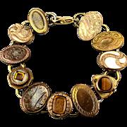 Vintage Bracelet of Victorian Era Cufflink Links Gold-Filled
