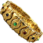 1980s Jeweled Gold-Tone Clamper Bracelet Hefty Design