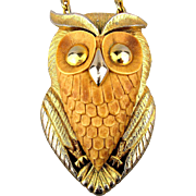 Huge Razza OWL Pendant Necklace - Bold 1970s Big Bird