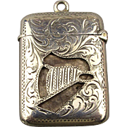 SOLD TO B.P. - 1904 English Sterling Silver Match Safe Pill Box - Cut-Out Harp Design - Pendant