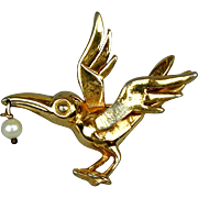 Vintage Hattie Carnegie Bird Pin w/ Pearl Dangle