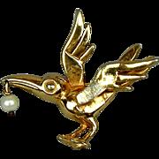 Vintage Hattie Carnegie Bird Pin w/ Pearl Dangle