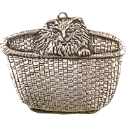 Signed Cat in a Basket Big Handmade Sterling Silver Pin Brooch Pendant