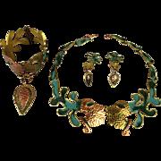 Rare Casa Maya Mexican Set THE KISS Copper Brass Necklace Bracelet Earrings