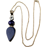 Sterling Silver Lapis Teardrop Pendant Necklace