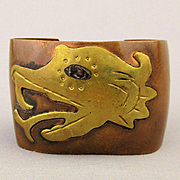 Modernist Mexican Copper - Brass Serpent Cuff Bracelet Snake Head