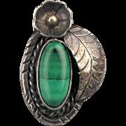 Old Navajo Sterling Silver Malachite Ring