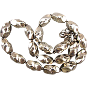 Vintage Twisted Sterling Silver Bead Necklace