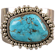 Navajo Royston Turquoise Sterling Silver Cuff Bracelet - Artie Yellowhorse