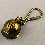Vintage Solid Brass Dive Helmet Key Chain w/ Green Glass Window