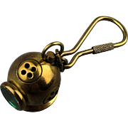 Vintage Solid Brass Dive Helmet Key Chain w/ Green Glass Window