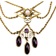 Art Deco Era Gold-Filled Festoon Necklace w/ Amethyst Dangles