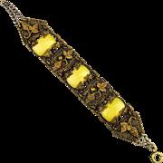 Old 1920s Czech Glass in Ornate Stamped Brass Bracelet