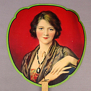 Old 1920s Art Deco Advertising Fan Rexall Drug Store Pretty Pin-Up Girl