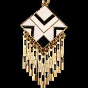 Vintage 1960s Black - White Enamel Pendant Necklace Op Art Mod