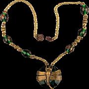 Vintage Dragonfly Czech Glass Brass Beaded Chain Necklace