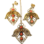 Victorian Gold on Sterling Silver Coral Filigree Set - Necklace Pin Earrings 925 - 10K - 14K