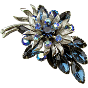 Signed SELINI Pin Brooch AB Rhinestones Tiered Floral
