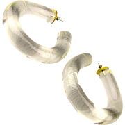 Vintage 1960s Chunky Lucite Hoop Earrings