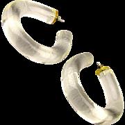 Vintage 1960s Chunky Lucite Hoop Earrings