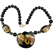 Japanese Hand-Painted Lacquered Porcelain Bead Necklace