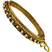 Miriam Haskell Signed Hinge Bracelet Russian Gold w/ Baroque Seed Pearls