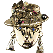 Signed Vintage Big Head Pin Woman w/ Jeweled Hat Brooch