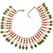 Vintage Beaded Collar Necklace Bakelite Coral Glass Faux Pearls