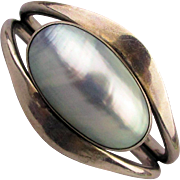 Signed Handwrought Sterling Silver Cuff Bracelet w/ Huge Silver Pearl Shell