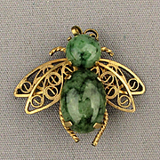 Vintage Winard Gold-Filled Jade Bug Insect Pin Brooch